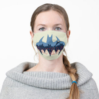Bat Logo With Gotham & Bat Signal Adult Cloth Face Mask