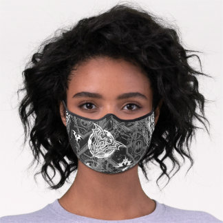 Batman Urban Legends - Bat Stamp Pattern BW Premium Face Mask
