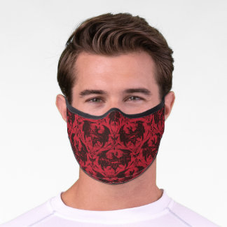 Batman Urban Legends - Goth Bat Pattern Red/Black Premium Face Mask