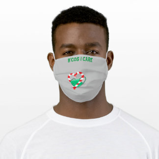 B'cos I Care Peppermint Heart Grey Adult Cloth Face Mask