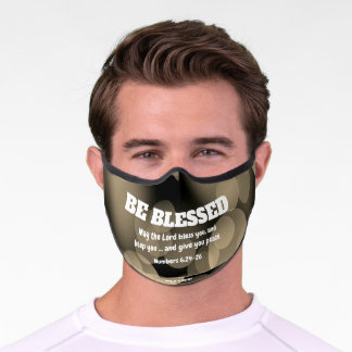 BE BLESSED Bokeh Christian Numbers 6 Blessing Premium Face Mask