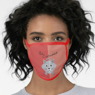 Be Curious Silver Persian Kitty Cat Shaded Red Face Mask