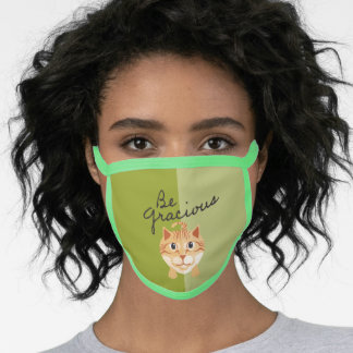 Be Gracious Simple Orange Kitty Cat Graphic Green Face Mask