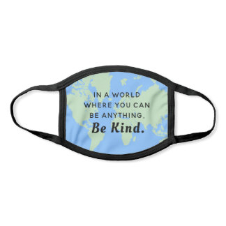 Be Kind Blue World Map With Quote Face Mask