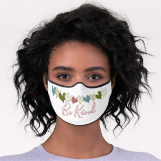 Be Kind Quote Pretty Blue Pink Green Heart Pattern Premium Face Mask