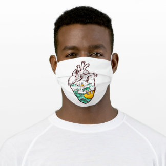 Beach in my heart adult cloth face mask