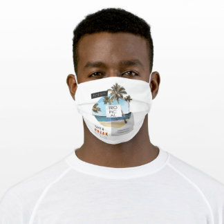 beach palm trees in circle shape adult cloth face mask