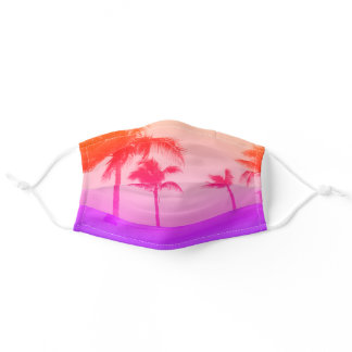 Beach palm trees neon pink adult cloth face mask