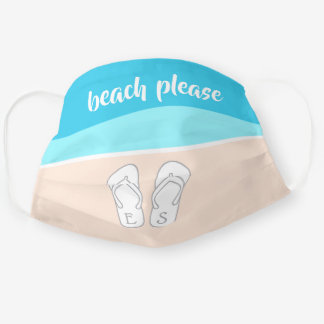 Beach Please Modern Abstract Monogram Cute Blue Cloth Face Mask