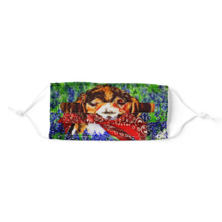 Beagle Basset Puppy Dog Wild Flowers Pet Lover FUN Adult Cloth Face Mask