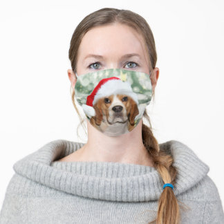 Beagle in Santa Hat Adult Cloth Face Mask