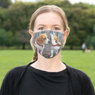 Beagle Mom & Puppy Howling Adult Cloth Face Mask