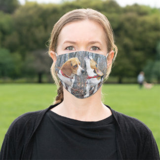 Beagle Mom & Puppy Howling In The Woods Adult Cloth Face Mask