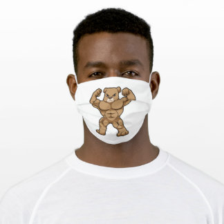 Bear as Bodybuilder with big Muscles Adult Cloth Face Mask