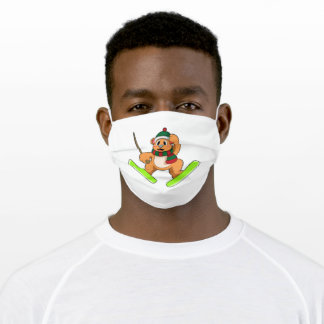 Bear as Ski jumper with Skis Adult Cloth Face Mask