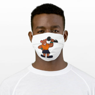 Bear at Bodybuilding with Dumbbell Adult Cloth Face Mask