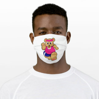 Bear at Fitness - Jogging with Headband Adult Cloth Face Mask