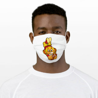 Bear at Sports with Football & Helmet Adult Cloth Face Mask
