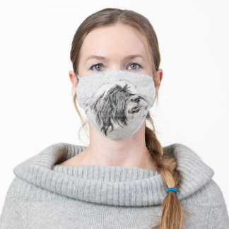 Bearded Collie Drawing - Cute Original Dog Art Adult Cloth Face Mask