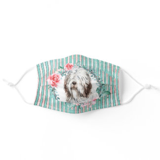 Bearded collie face pet dog watercolor rose adult cloth face mask