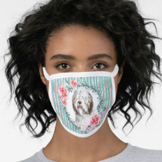 Bearded collie face pet dog watercolor rose face mask
