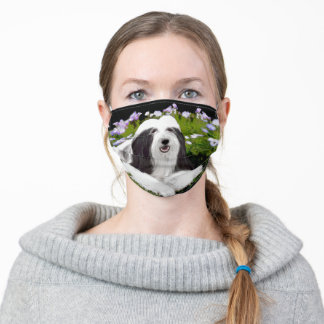 Bearded Collie Painting - Cute Original Dog Art Adult Cloth Face Mask