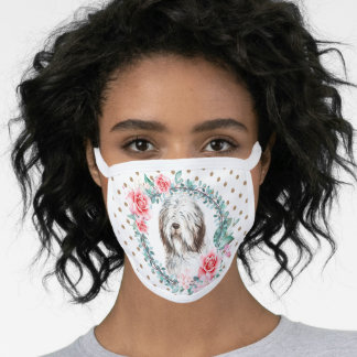 Bearded collie watercolor rose wreath polka dot face mask