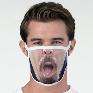 Bearded Man With Open Mouth Face Mask