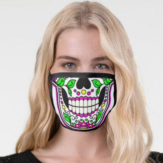 Beautiful and Scary Skull with Flowers Face Mask