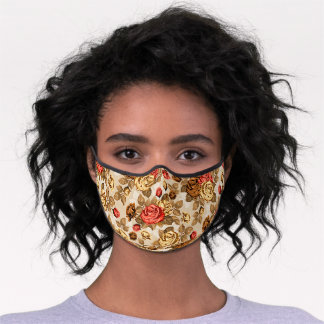 Beautiful Antique Coral Red Yellow Roses Floral Premium Face Mask