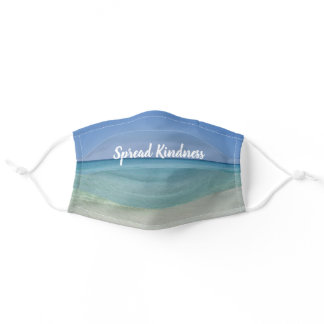 Beautiful Beach Inspirational Quote Monogram Adult Cloth Face Mask