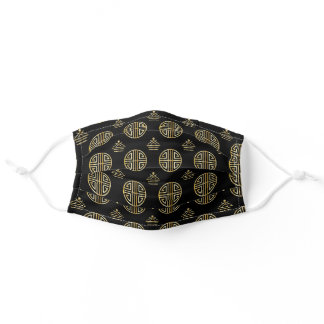 Beautiful black and gold ornamental pattern adult cloth face mask