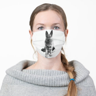 Beautiful Black and White German Shepherd Adult Cloth Face Mask
