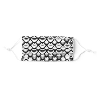 Beautiful black and white ornamental wavy pattern. adult cloth face mask