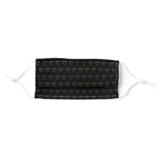 Beautiful black pattern with gold hearts ornament adult cloth face mask