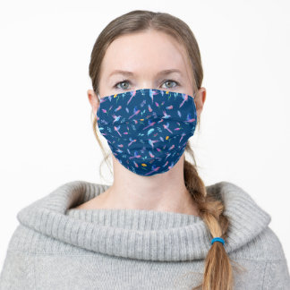 Beautiful Blue Birds and Feathers Pattern Adult Cloth Face Mask