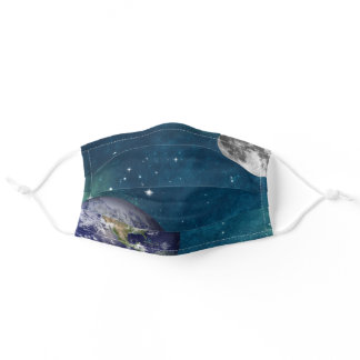 Beautiful Blue Green Space Earth Moon Stars Patter Adult Cloth Face Mask