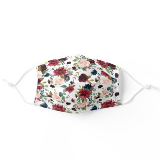 Beautiful Burgundy Red Blush Botanical Floral Adult Cloth Face Mask