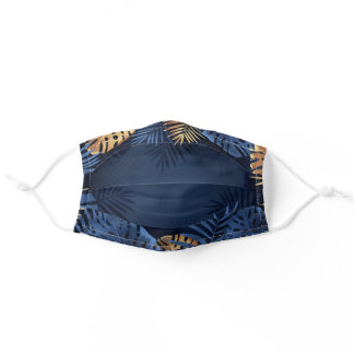 Beautiful Dark Blue with gold leaf boarder Adult Cloth Face Mask