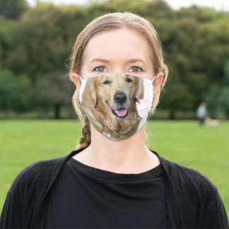 Beautiful Dog Golden Retriever and Your Bone Cloth Face Mask