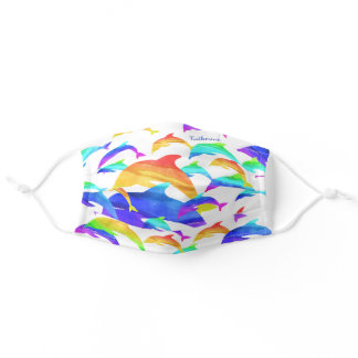 Beautiful Dolphins in Rainbow with First Name Adult Cloth Face Mask