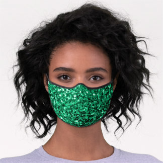Beautiful Emerald Green glitter sparkles Premium Face Mask