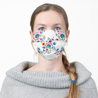Beautiful folk pattern on white background adult cloth face mask