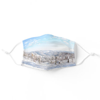 Beautiful Frosty Winter Snow Landscape Vineyards Adult Cloth Face Mask