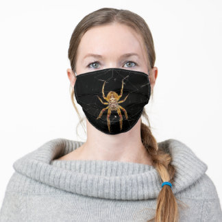 Beautiful Golden Spider on Web Adult Cloth Face Mask