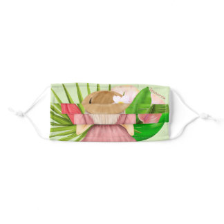 Beautiful green aesthetic watercolor tropical adult cloth face mask