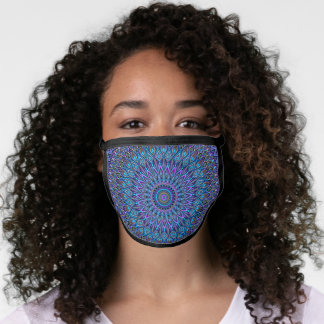 Beautiful Mandala Peacock Blue Teal Purple Gold Face Mask