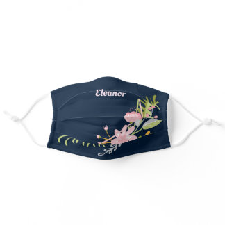 Beautiful Navy Blue Floral Adult Cloth Face Mask