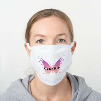 Beautiful Pink Butterfly Personalized White Cotton Face Mask