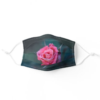 Beautiful Pink Rose on a Dark Green Background. Adult Cloth Face Mask